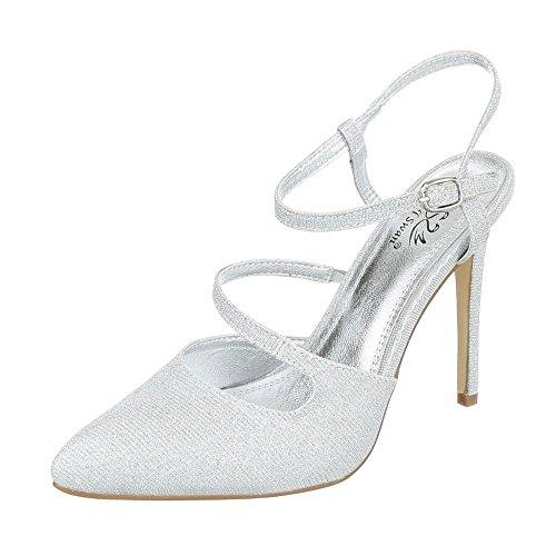 High Heel Damenschuhe Plateau Pfennig-/Stilettoabsatz High Heels Schnalle Ital-Design Pumps Silber