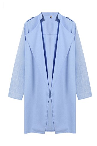 UNibelle Damen Leichte Mantel Trenchcoat Langmantel Cardigan Parka Hellblau S
