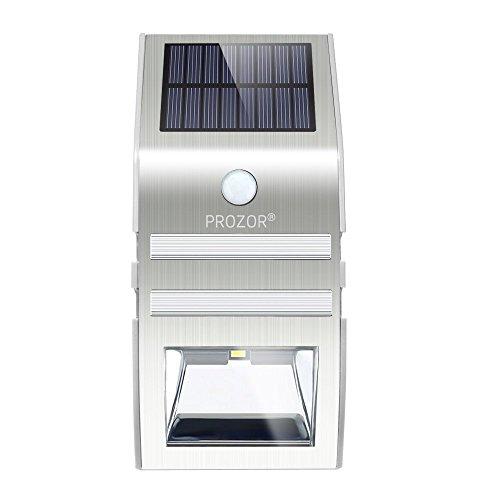 Prozor Solarleuchten mit Bewegungsmelder Außen LED Solarleuchten Außenleuchte Wandleuchte für Garten Zaun Terrasse Treppen Auffahrt - mit Edelstahl Gehäuse – silber