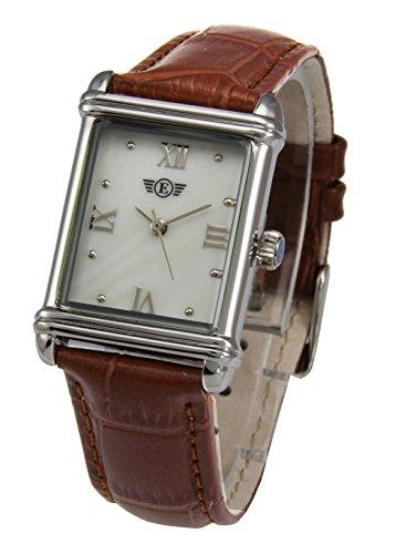 Damen-Armbanduhr, rechteckiges Lederband, PS