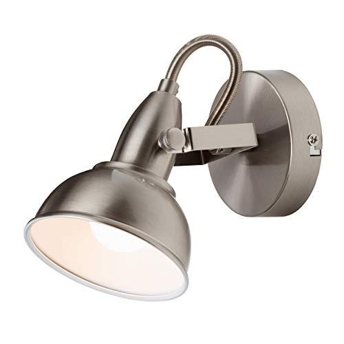 Briloner Leuchten Wandleuchte mit dreh- & schwenkbarem Spot, Wand-Lampe, Strahler im Vintage-/ Retro-Design, max. 40 W, 15.6 x 10 x 15.6 cm