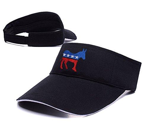 Sianda Democrat Donkey Logo Visiera ricamo Golf Cappello Sole Cap, Uomo, Black Visor, Taglia unica