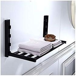 Étagères Porte Serviette Salle De Bain Mural Pliable Noir Metal,Etagere Douche Rangement Murale,Aluminium Bathroom Shelf Shelves (Size : B)