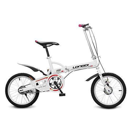 XQ Bicicleta Plegable de 16 Pulgadas Adultos Bicicleta Plegable de Una Sola Velocidad Ultraligero Amortiguación Hombres y Mujeres Estudiante Bicicleta de Los Niños