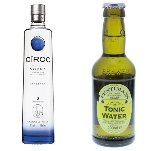 Ciroc Ultra Premium Vodka (1 x 0.7 l) mit Fentimans Tonic Water, 12er Pack (12 x 200 ml)