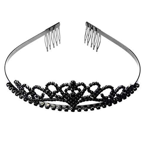 Wie Black Swan Kostüm - ROSENICE Diadem Herz Krone mit Haarkamm Clip Hochzeit Haarband Schwarz Stirnband