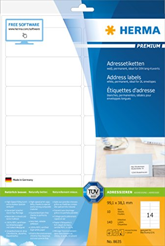 Preisvergleich Produktbild Herma 8635 Adressetiketten (Premium A4 Papier matt, 99,1 x 38,1 mm) 140 Stück weiß
