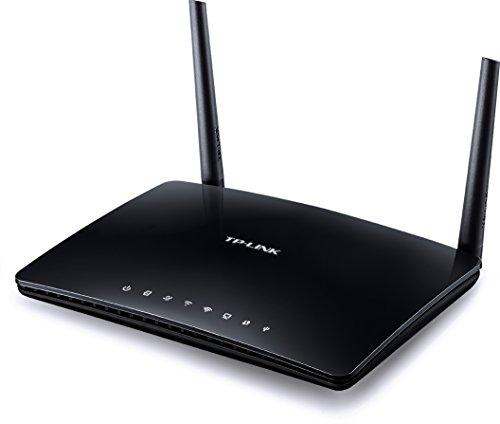 TP-LINK Archer D50 AC1200 Wireless Dual Band ADSL2+ Modem-Router (2,4 GHz 300 Mbps, 5 GHz 867 Mbps, USB-Port für Speicherfreigabe, Druckerfreigabe, 6 Simple Setup durch Tether App) - Schwarz (Tp-link Modem Router Adsl2)
