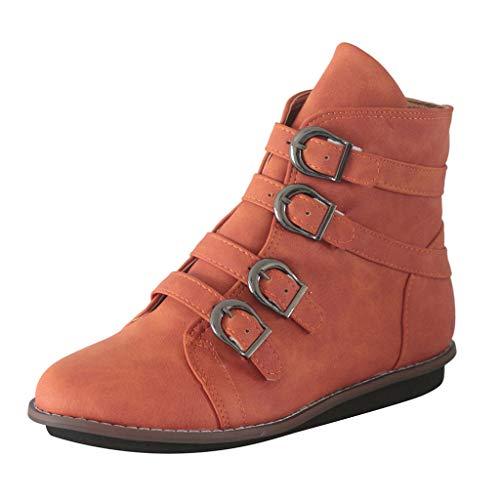 Cardith Damen Lässige Ankle Booties SchnallenriemenRunder ZehBequeme Schuhe mit niedrigen Absätzen