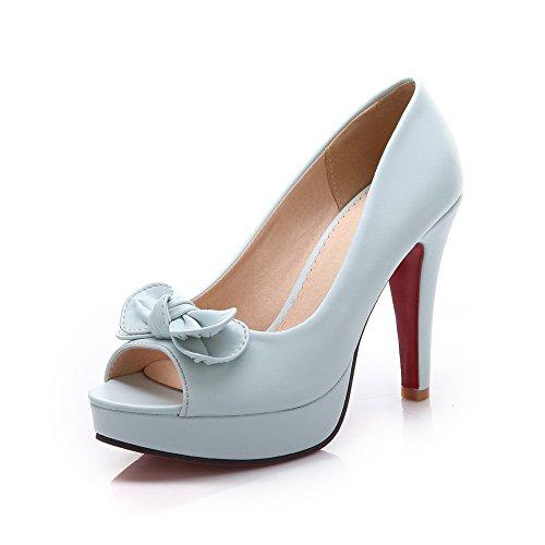 BalaMasa, Peep Toe, tacco alto, in metallo, con fiocco, Pull-On in gomma, scarpe Blue