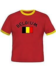BRUBAKER Herren oder Damen Belgien Fan T-Shirt Rot Gr. S - XXXL