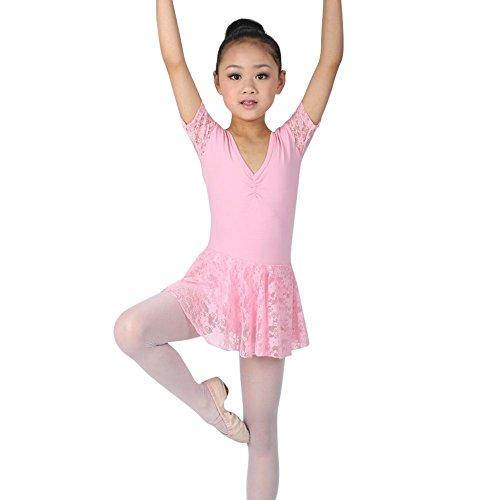 Moresave ragazze merletto del manicotto abito corto ballo tutu balletto body usura di ballo 4-8 anni