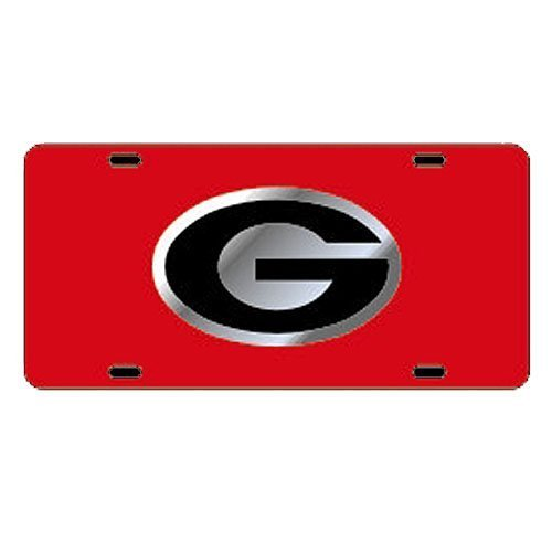georgia-bulldogs-red-car-tag-w-silver-black-logo-g-by-craftique