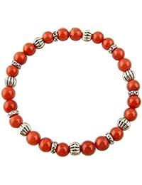 Edelstein Sternzeichen Armband - Waage - Koralle - mit silberfarbenen Tibet Perlen, Heilsteinarmband, Stretcharmband
