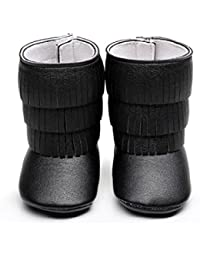Voberry Voberry Unisex-Baby Boy Tassels Ankle High Leather Boots Crib Shoes