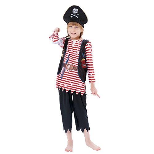für Kinder Jungen, Schädel Gekreuzte Knochen Gestreiften Karibik Freibeuter Outfit, Captain Jack Spiel Spielen Anzug (Piraten Der Karibik Kostüme Für Jungen)