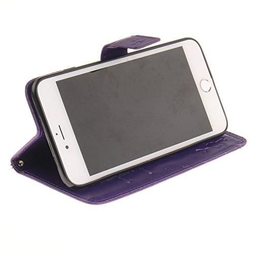 """MOONCASE iPhone 7 Bookstyle Étui Pissenlit Housse en Cuir Case à rabat Coque de protection Portefeuille TPU Case avec Béquille pour iPhone 7 4.7"""" Bleu Violet"""