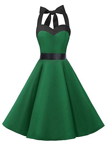Dresstells Neckholder Rockabilly 50er Vintage Retro Kleid Petticoat Faltenrock Green Black L