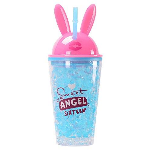 xiaoshenlu Slush Ice Becher - Smoothie Tassen mit Deckel und Strohhalme - doppelwandiger Trinkbecher BPA Free, 450ml