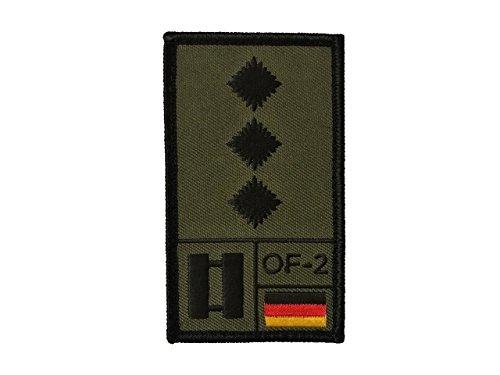 Café Viereck Hauptmann Bundeswehr Rank Patch mit Dienstgrad, Deutschlandflagge, NATO-Rang und US-Rank Gestickt mit Klett (Oliv) (Nähen Rang)