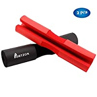 Portzon Barbell Squat Pad, Advanced Neck & Shoulder Ergonomic Protective Pad Support for Squats, Lunges & Hip Thrusts, Comfortable Foam Sponge Pad, Black & Red, Pack of 2