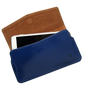 i-KitPit : Genuine Leather Pouch Case Cover For Lava iris 402 (BLUE)