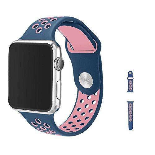 Apple Watch Armband 38mm, Vaxiuja Serie 1/2 Sport Armbanduhr Silikonarmband Ersatzarmband Armband f¨¹r Apple iWatch / Apple Uhr Nike + (38mm, Rosa & Mitternachtsblau) Test
