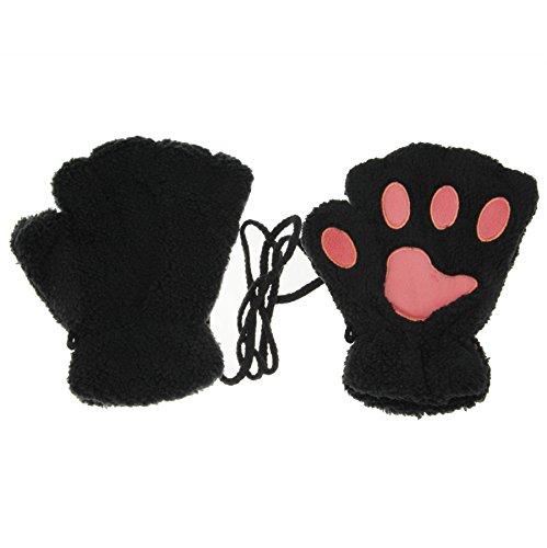 Rnow Women Winter Fluffy Bear Cat Plush Paw Claw Glove Half Finger Cute Gloves Mittens Black