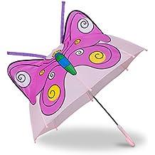 Relaxdays Paraguas Infantil de Mariposa en 3D, Poliéster-Plástico, Rosa, ...
