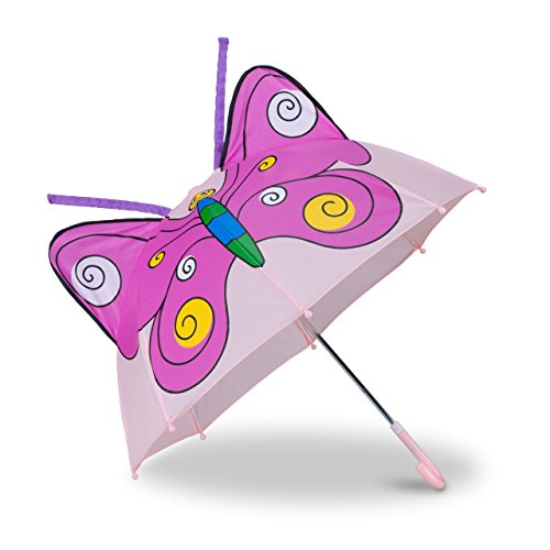 Relaxdays Kinderregenschirm 3D Schmetterling, Regenschirm f. Mädchen, kleiner -
