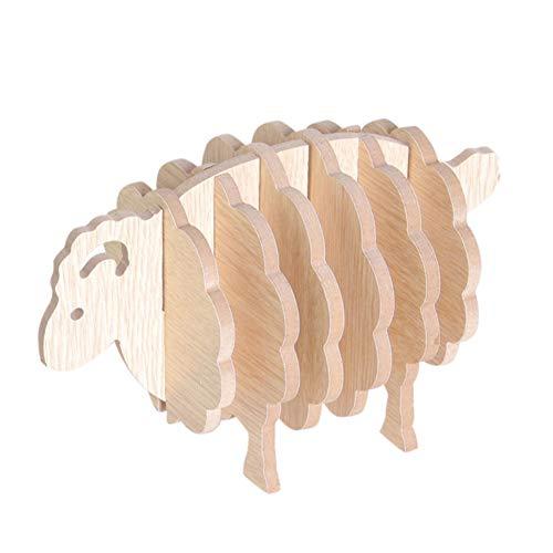 EisEyen Mini Holz Scheiben Untersetzer 6 Stück Verschönerungen für Hochzeit Handwerk Schaf Tier Basteln Dekoration