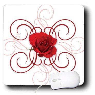 3drose LLC 20,3x 20,3x 0,6cm 1rot Rose N Scrolls Mauspad (MP 109554_ 1) - Rose Scroll