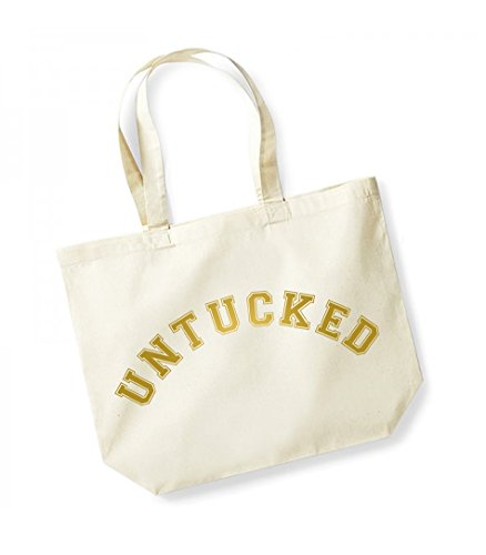 Untucked - Large Canvas Fun Slogan Tote Bag Natural/Gold