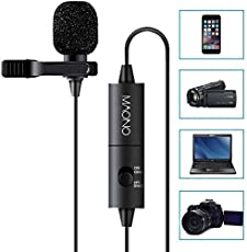 Maono Lavalier Microphone, Omnidirectional Condenser with Clip-on Lapel Mic for Camera,DSLR,iPhone,Android,PC,Laptop (236in/20ft) (Lav Mic)