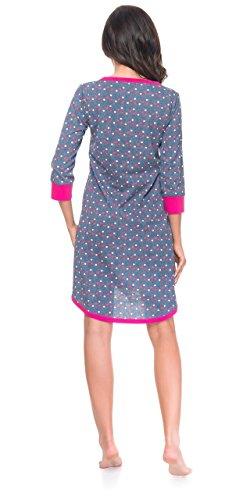 dn nightwear Damen Nachthemd TM.4031 für Schwangerschaft und Stillzeit Spa Blue