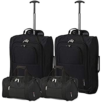 68b89ab512e 5 Cities Set Of 2 Ryanair Cabin Approved Main and Second Carry On Both Hand  Luggage, 54 cm, 42.0 L, Black