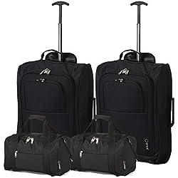 Lot de 2 Ryanair Cabine 35x20x20 cm & deuxième Valise 55x40x20 - Emmenez Les Deux! (Noir/Noir)