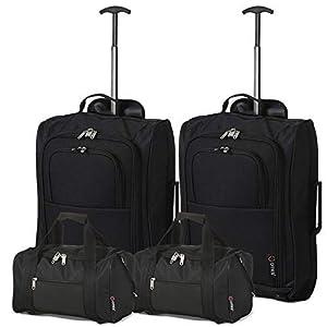 5 Cities – Ryanair Cabin Approved Main & Second Hand Luggage – Carry On Both Equipaje de mano, 54 cm, 42 liters, Negro (Black), conjunto de 2 trolley y 2 bolsas (total: 4)