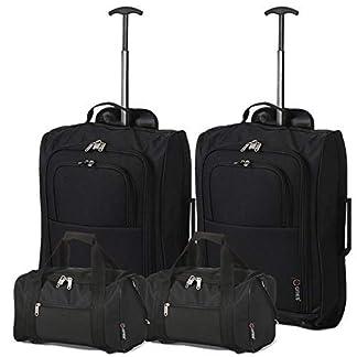 Ryanair Set de 4-55x40x20 Equipaje de Mano y 35x20x20 2ª Bolsa de Mano (Ciudades/Negro)