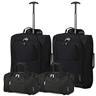 Ryanair Set de 4-35x20x20 Bolsa de Mano y 55x40x20 2ª Maleta Trolley