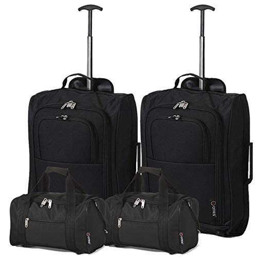 5 Cities Set Of 2 Ryanair Cabin Approved Main & Second Hand Luggage - Carry On Both Bagaglio a mano, 54 cm, 42 liters, Nero (Black)