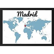 Lámina enmarcada mapa con situación MADRID - Se puede personalizar con el lugar del mundo que desee