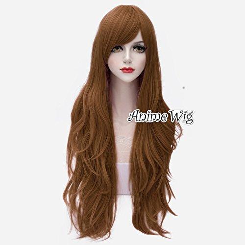 Lolita 80cm lange braune gewellte Anime Grund Haar (Perücke Lange Braune)