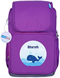 UniQBees Personalised School Bag With Name (Smart Kids Large School Backpack-Purple-Free Willy)