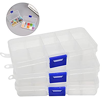 Shoze 3Pcs Divider Storage Boxes Clear Plastic Organizer Container Case 10 Compartment for Jewelry Bead Crafts Fishing Hook Fuse Small Accessories from SD