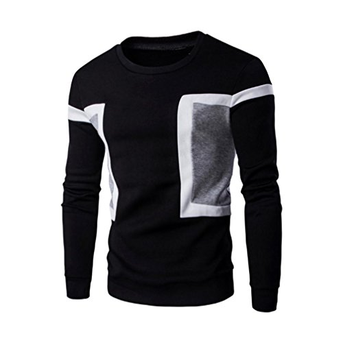 Kobay Herren Langarm Patchwork Hoodie Sweatshirt Tops Jacke Mantel Outwear Schwarz Blau Weiß (Gemütliche Bomber)