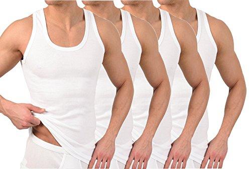 4 Stück Herren Unterhemd - Supergekämmte 100% Baumwolle (6 | L, Weiß)