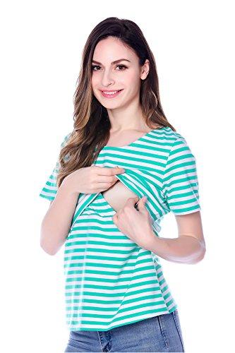 Bearsland maternité femmes manches courtes rayé de Grossess'et d'allaitement vert/blanc
