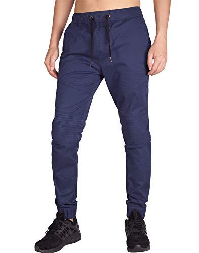 Italy morn uomo casual chino jogging pantaloni sportivo biker twill slim fit m marina blu