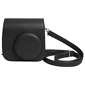 Shopizone Classic Vintage PU Leather Compact Case with Strap for Fujifilm Instax Mini 9/8 /8+ (Classic Black)